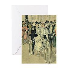 Vintage Victorian Bride Groom Tandem Greeting Card