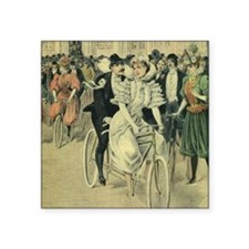 "Vintage Victorian Bride Gro Square Sticker 3"" x 3"""