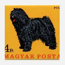 Vintage 1967 Hungary Puli Dog Postage Stamp Tile C