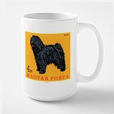 Vintage 1967 Hungary Puli Dog Postage Stamp Mug