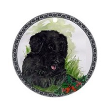 """Happiness"" Portuguese Water Dog Ornament (Round)"