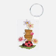 cute garden ladybug and fl Keychains