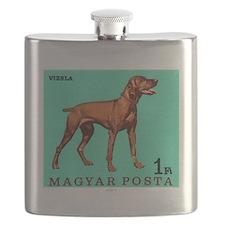 1967 Hungary Vizsla Dog Postage Stamp Flask