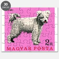 Vintage 1967 Hungary Pumi Dog Postage Stamp Puzzle