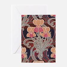 pretty bright art nouveau floral Greeting Card