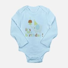 Blue Birthday Elephant Long Sleeve Infant Bodysuit