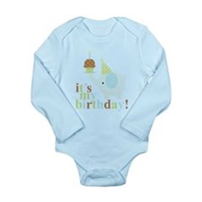 Blue Birthday Elephant Onesie Romper Suit