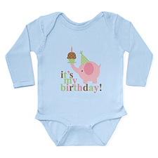 Pink Elephant Birthday Long Sleeve Infant Bodysuit