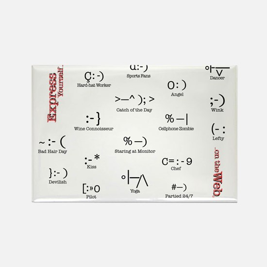 Many Emoticons Rectangle Magnet