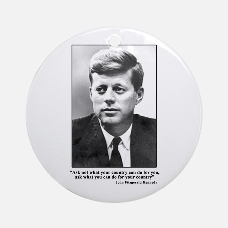 JFK Inaugural Quote Ornament (Round)