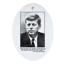 JFK Inaugural Quote Oval Ornament
