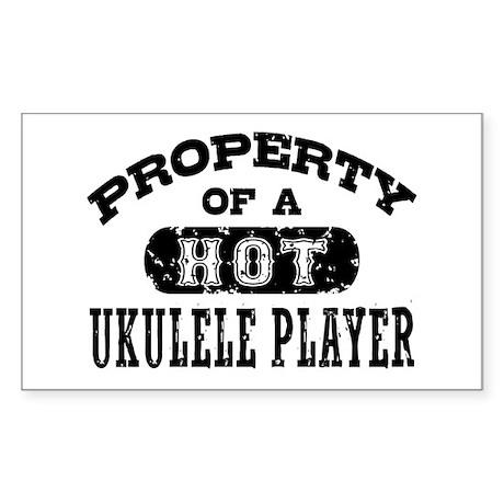 Property of a Hot Ukulele Player Sticker (Rectangl