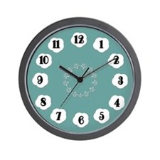 Teal and White Wall Clock