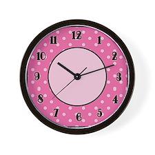 Pink Polka Dot Wall Clock