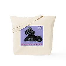 Vintage 1967 Hungary Poodle Dog Postage Stamp Tote