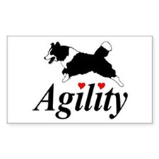 Border Collie Agility Rectangle Decal