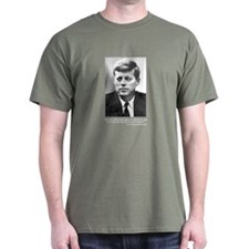 Kennedy Quote on a Military Green T-shirt