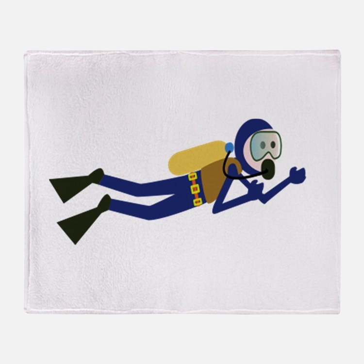 Cartoon Scuba Diver Throw Blanket