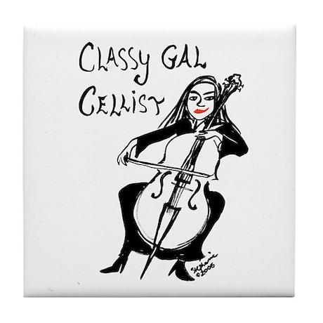 Classy Gal Cellist Tile Coaster