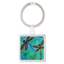 Dragonfly Dance Square Keychain