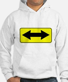 Double-Headed Arrow Caution Sign Hoodie