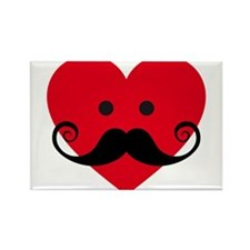 mustache design with red heart face Rectangle Magn