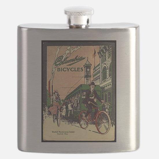 Columbia Bicycles old Vintage Advertising Po Flask