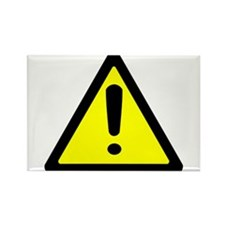 Exclamation Point Caution Sign Rectangle Magnet (1