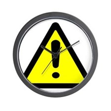 Exclamation Point Caution Sign Wall Clock