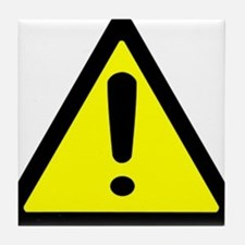 Exclamation Point Caution Sign Tile Coaster