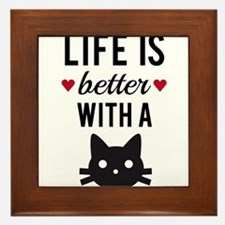Life is better with a cat, text design, word art F