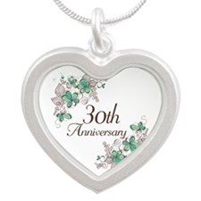 30th Anniversary Keepsake Silver Heart Necklace