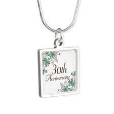 30th Anniversary Keepsake Silver Square Necklace