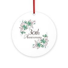 30th Anniversary Keepsake Ornament (Round)