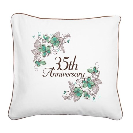35th Anniversary Keepsake Square Canvas Pillow
