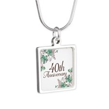 40th Anniversary Keepsake Silver Square Necklace