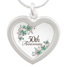 50th Anniversary Keepsake Silver Heart Necklace