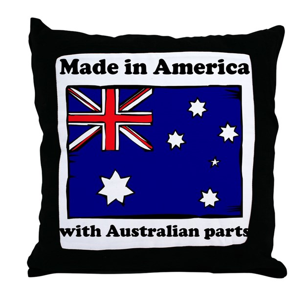 Made In America With Australian Parts Throw Pillow by FunBabyGifts