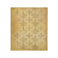 gold tone distressed damask pattern Throw Blanket