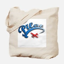 Pilot with Red Plane Tote Bag