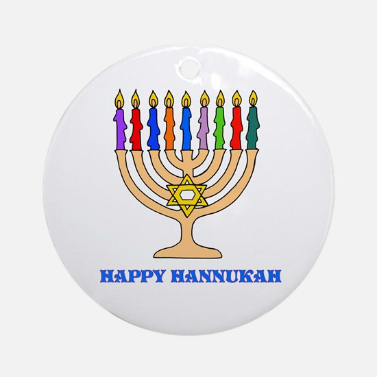 Hannukah Menorah Ornament (Round)
