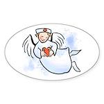 Nurses Are Angels Oval Sticker