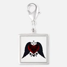 Black Winged Goth Heart Charms