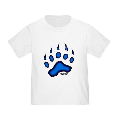 1 Sided Blue Glow Bear Paw Toddler T-Shirt