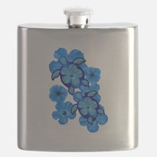 Blue Honu and Hibiscus Flask