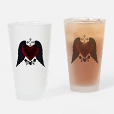 Black Winged Goth Heart Drinking Glass