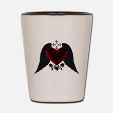Black Winged Goth Heart Shot Glass