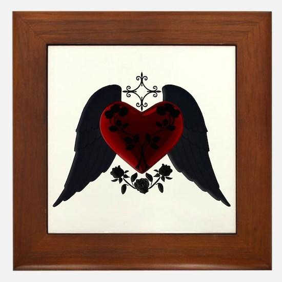 Black Winged Goth Heart Framed Tile