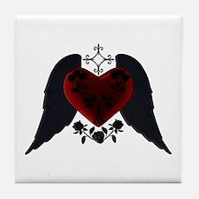 Black Winged Goth Heart Tile Coaster