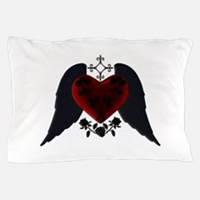 Black Winged Goth Heart Pillow Case